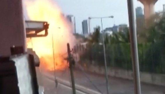 Sri Lanka'da patlama anı saniye saniye kamerada