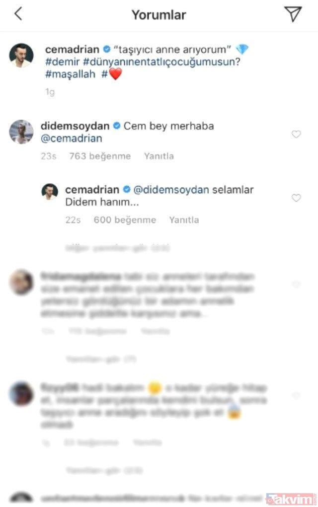 Cem Adrian'ın taşıyıcı anne arıyorum mesajına Didem Soydan'dan şaşırtan yorum!