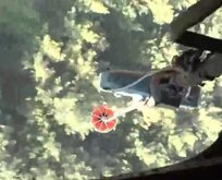 Helikopterden alevlerle mücadele kamerada