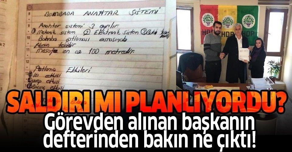 Görevden alınan Kurtalan Belediye Başkanı HDP'li Baran Akgül'ün defterinden bomba tarifi çıktı!