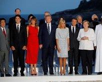 G7'de dikkat çeken an! Trump ve Macron'un eşi...