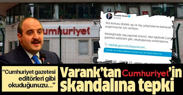 Varank'tan Cumhuriyet gazetesine tepki!