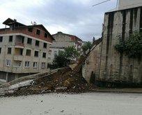 Orduda bir okulun istinat duvarı çöktü