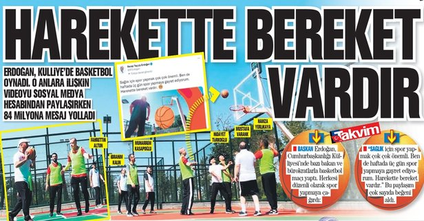 Başkan Erdoğan'dan sağlık için spor çağrısı: Harekette bereket vardır - Takvim