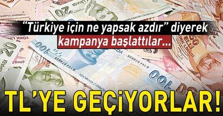 Azezde Türkiyeye destek için TLye geçme kampanyası