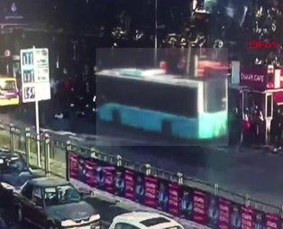 Beşiktaş'taki otobüs kazasının görüntüleri ortaya çıktı! Şoför otobüs durağına böyle daldı