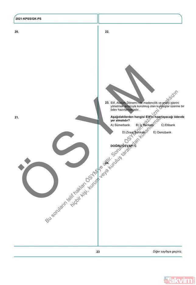 2021 KPSS soru kitapçığı ve cevap anahtarı | A Grubu ve Öğretmenlik (GY-GK- Eğitim Bilimleri) soruları