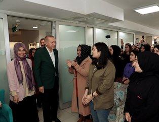 Başkan Erdoğan'dan TÜRGEV'in Şişli'deki Mihri Hatun Yükseköğretim Kız Öğrenci Yurdu'na ziyaret