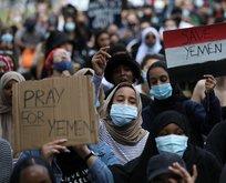 İngiltere'de batı ve iş birlikçilerine Yemen protestosu