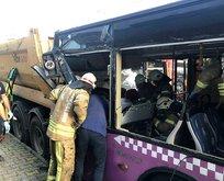 Halk otobüsü hafriyat kamyonuna çarptı