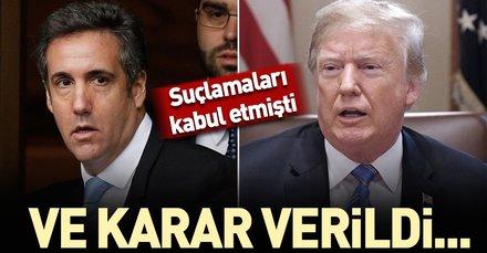 Son dakika:  Trump'ın eski avukatı Cohen'e 3 yıl hapis cezası!