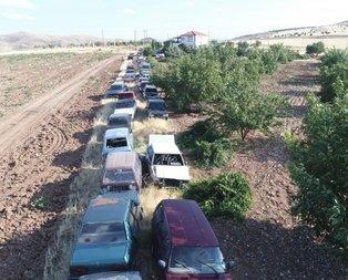 Elazığlının bahçesindeki 50 otomobil görenleri şaşırtıyor!