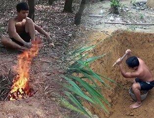 Ormanda kendi kendine yaptıklarıyla tüm dünyayı kendine hayran bıraktı!