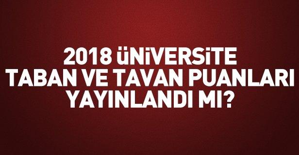 2018 üniversite taban ve tavan puanları yayımlandı mı?