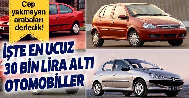 30 bin lira altı sahibinden araç marka ve modelleri...