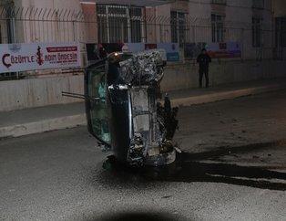İstanbul'da kontrolden çıkan araç devrildi