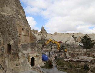 Vali açıklamıştı!  Peribacaları yakınınındaki yapılardan 2'si yıkıldı...