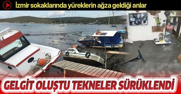 İzmir'de deprem sırasında gelgit oluştu, tekneler sürüklendi
