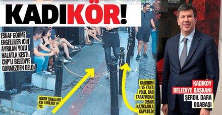 CHP'li Kadıköy Belediyesi'nden skandal! 'Görme engelli yolu'nu kapatan işletmeye arka çıktılar