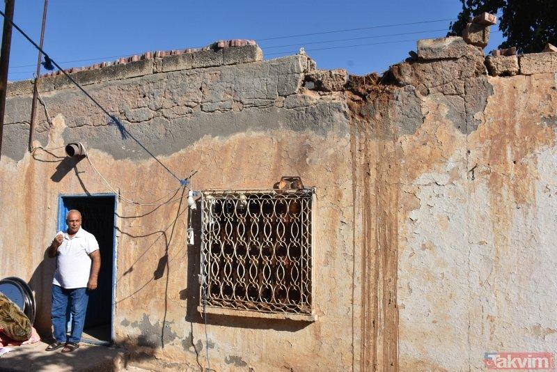 Ceylanpınar'da roketin düştüğü evdeki hasar görüntülendi