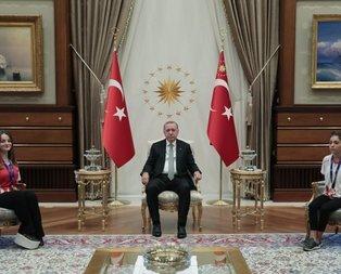 Erdoğan, Sümeyye Boyacı ve Sevilay Öztürk'ü kabul etti