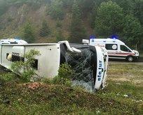 Kastamonu'da yolcu otobüsü devrildi! Yaralılar var