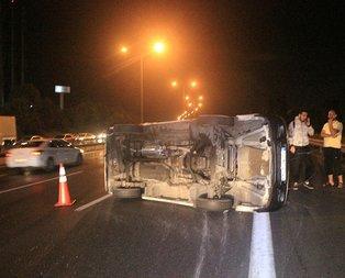 Kağıthane'de minibüs takla attı: Yaralılar var