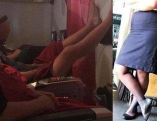 Uçakta iğrenç olay! Yolcuların ve hosteslerin gizli fotoğrafları sosyal medyaya düştü