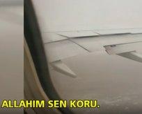 Fırtınaya yakalanan uçakta panik!
