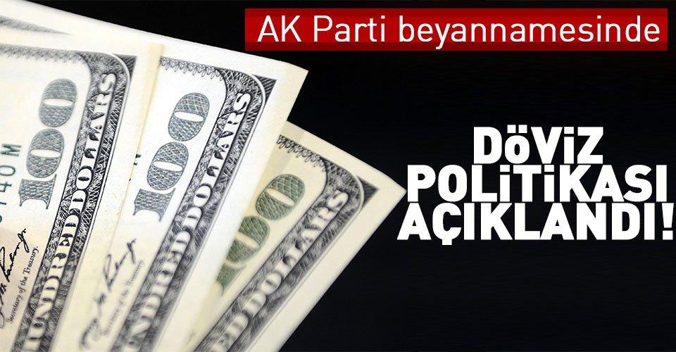 AK Parti beyannamesinde döviz politikası