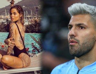 Sergio Agueronun yanındaki dövmeli güzel | İşte futbolcuların eşleri ve sevgilileri