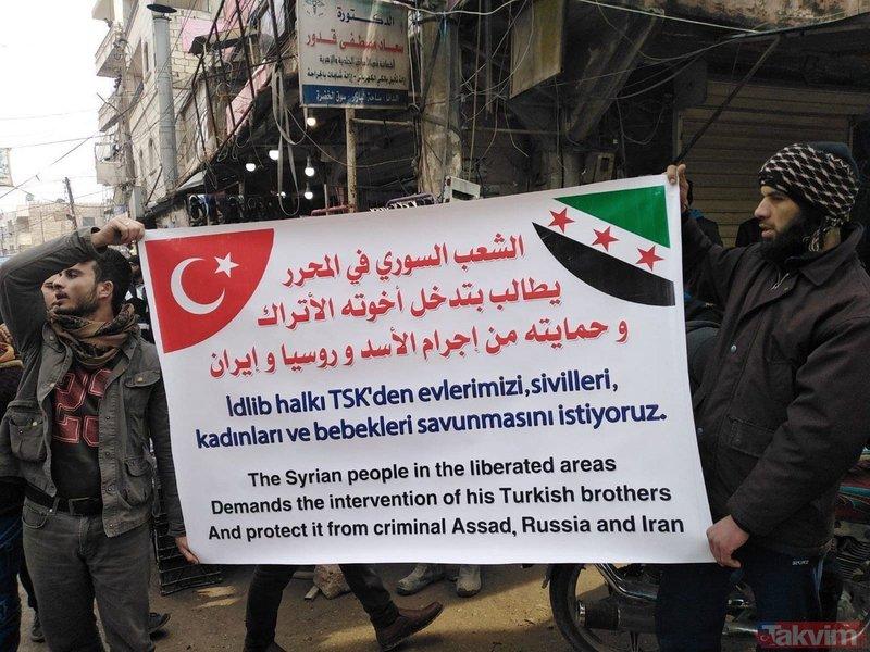 İdlib'de Türkiye'ye destek gösterileri: Bizim kanımız sizin kanınızla birdir