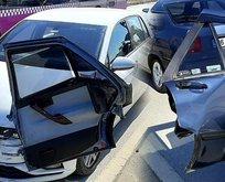 Düzce'de korkunç kaza! Otomobilin kapısı saplandı...