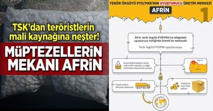 Teröristlerin uyuşturucu merkezi Afrin!