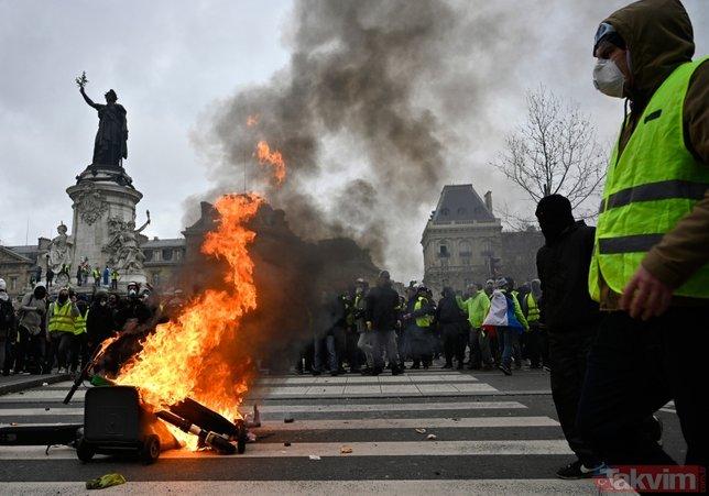 Fransa'da Macron'a karşı başlatılan grev hayatı felç etti