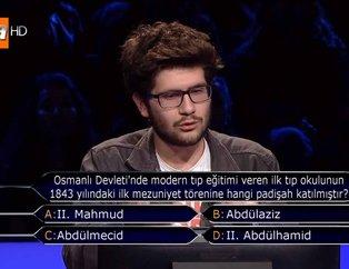 Kim Milyoner Olmak İster'de dikkat çeken Osmanlı sorusu! İlk tıp okulu mezuniyet törenine hangi padişah katıldı?