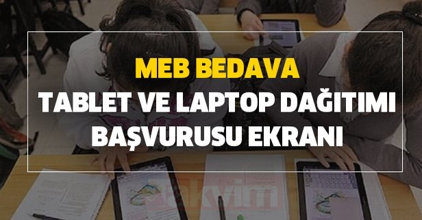 MEB bedava tablet ve laptop dağıtımı başvurusu ekranı