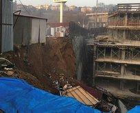 İstinye'de bir inşaatın istinat duvarı çöktü
