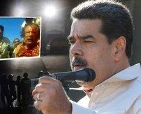 Maduro'ya Kaddafi fotoğrafıyla tehdit!