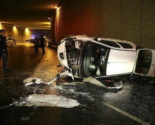 İstanbul'da korkunç kaza! Otomobil köprüden uçtu