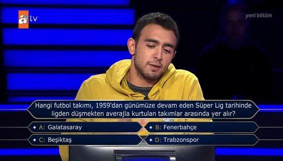 Kim Milyoner Olmak İster'de dikkat çeken Fenerbahçe sorusu
