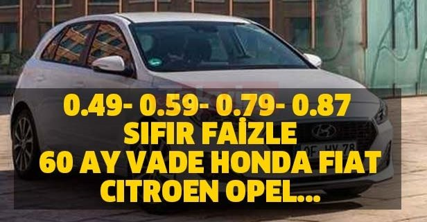 0.49- 0.59- 0.79- 0.87 sıfır faizle 48 ay vade Honda, Fiat, Citroen, Opel...