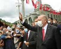 Erdoğan Güneysu'da! Vatandaşlardan sevgi seli