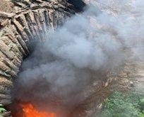 Tinerciler Bursa'nın tarihi surlarını yaktı