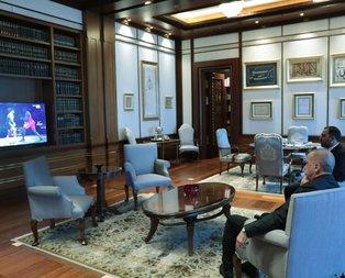 Başkan Erdoğan Dünya Şampiyonu Rıza Kayaalp'i böyle izledi