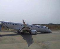 Yolcu uçağı burnunun üzerine acil iniş yaptı