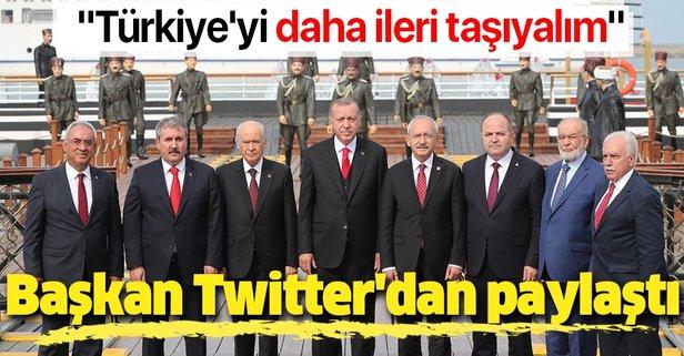 Başkan'dan anlamlı tweet: Türkiye'yi daha ileri taşıyalım