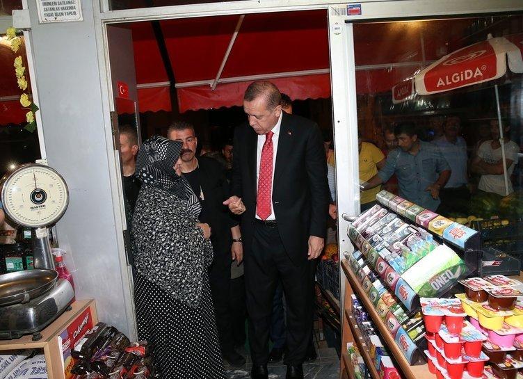 Cumhurbaşkanı Erdoğan Rizede markete girdi, alışveriş yaptı