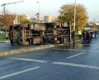 İstanbul'da TOMA aracı devrildi!