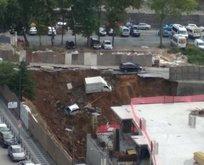 Duvar çöktü araçlar çukura düştü